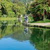 Fishing in small picturesque lake, Anatoki in South Island New Zealand