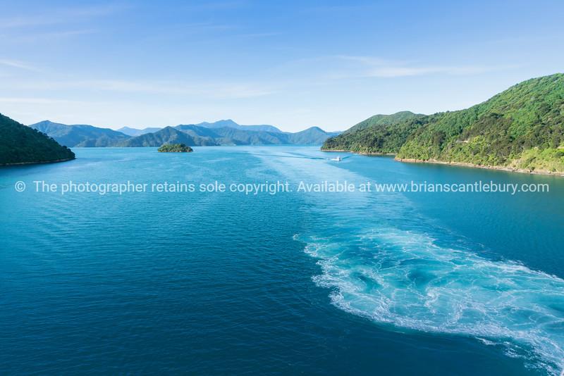 South Island coastline from ferry crossing
