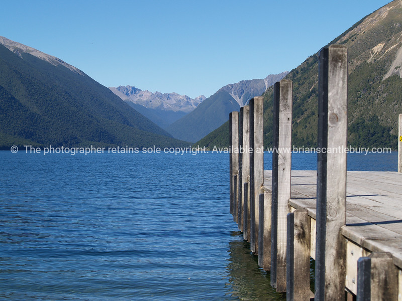 Jetty on Lake Rotoiti. New Zealand images.