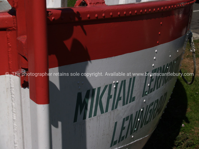 Life Boat from Mikhail Lermontov which sank in the sounds in 1986. New Zealand images.