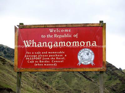 Whangamomona village sign.