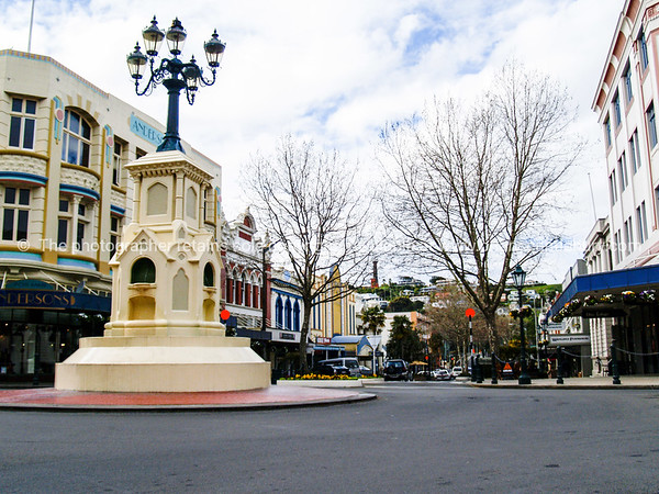Wanganui old colourful art deco style buildings and Victoria Avenue roundabout