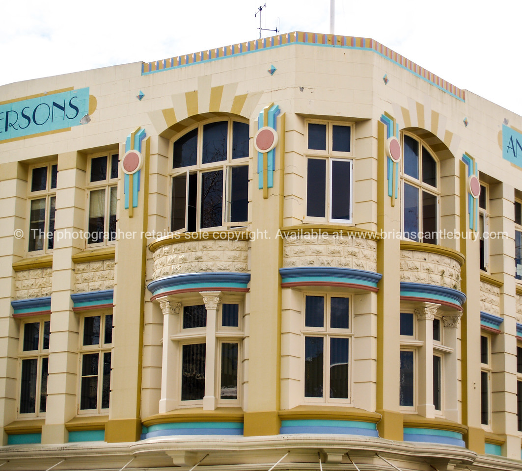Wanganui old colourful art deco style buildings