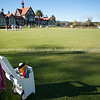 Rotorua Croquet lawns with historic Bath House building behind. New Zealand Images.