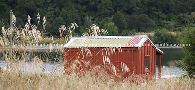 Little red hut. New Zealand images.