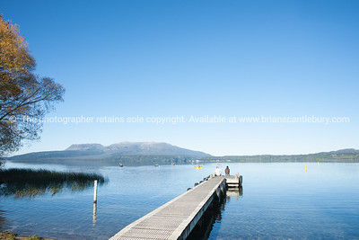 Jetty on Lake Tarawera. New Zealand images.