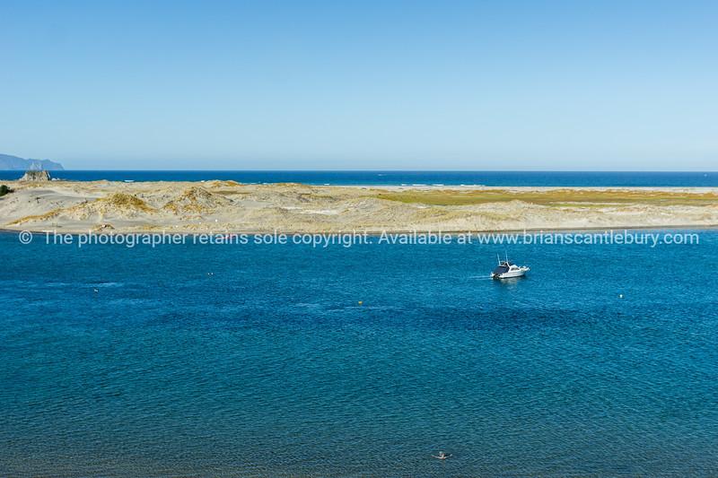 Mangawhai Heads estuary and outlook to sea