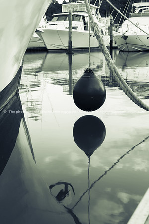 Marine bouy hanging above water between moored boats in Tutukaka marina, Northland New Zealand.