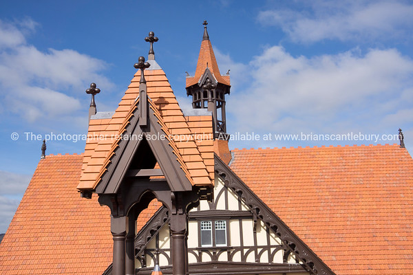 The Tudor architecture of Rotorua Bath House and Museum from the viewing platform