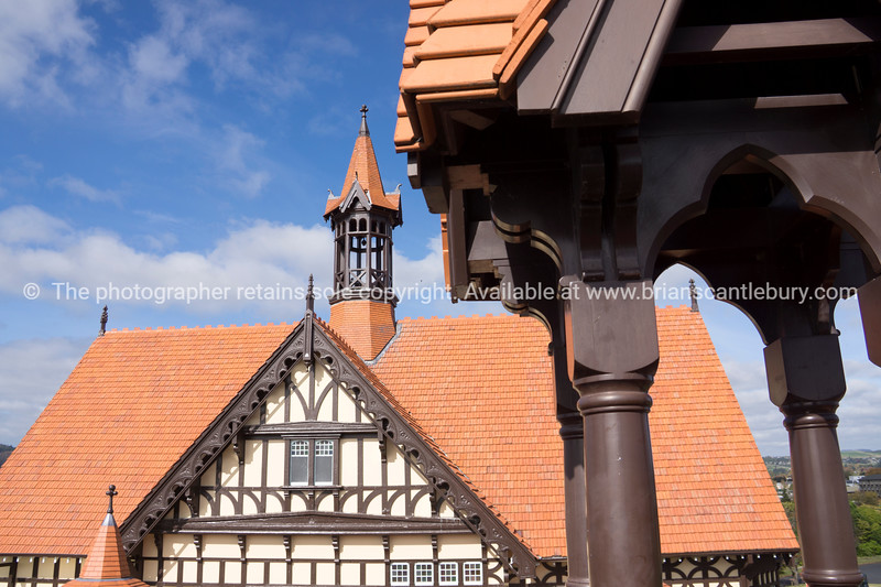 The Tudor architecture of Rotorua Bath House and Museum from the viewing platform.