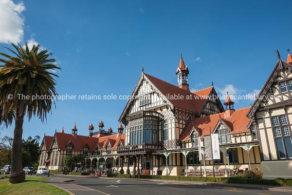 The Tudor architecture of Rotorua Bath House and Museum.