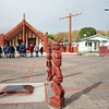 Ohinemutu Marae with group of tourists receiving the introduction. Rotorua