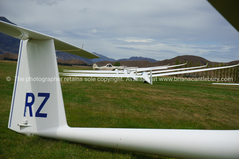 Omarama, Gliders lined up ready for take-off. South Island