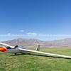 Glider on airfield.