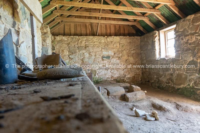 Interior of historic Ackers stone cottage on Stewart Island.