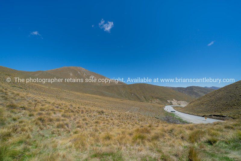 Landscape from lookout at top of Lindis Pass