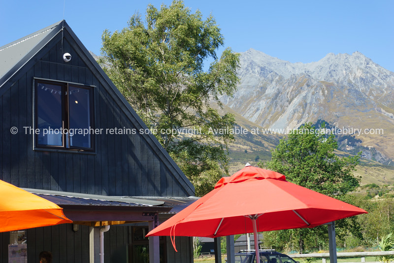 Sun umbrellas outside the Glenorchy Country Store