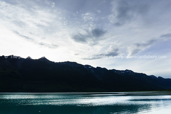 Evening light across the lake Wakatipu at Glenorchy
