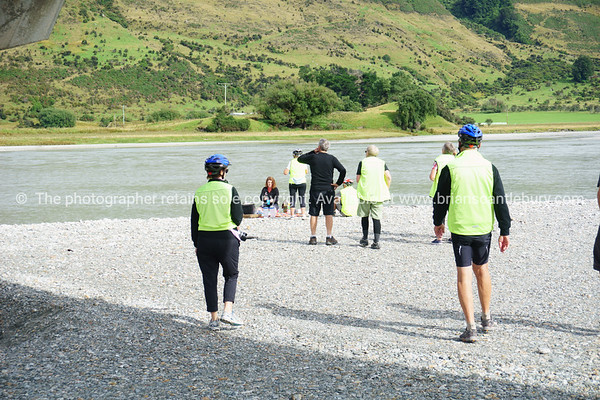 Group stops for a break at Dart River, Otago, South Island New Zealand