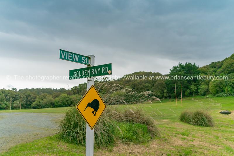 Stewart Island street sign and kiwi graphic