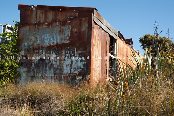 Ocean Beach Road, Bluff. Deserted shed on waterfront