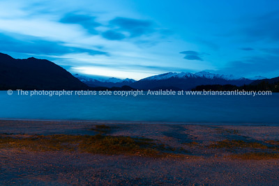 Nighttime view across Lake Wanaka