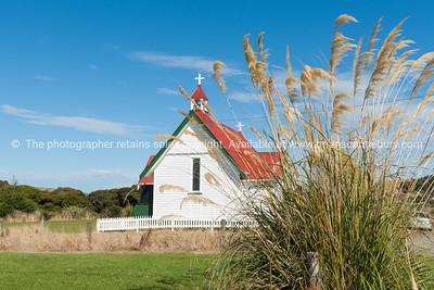 St Mary's Anglican Church past the pampas, Waikawa.