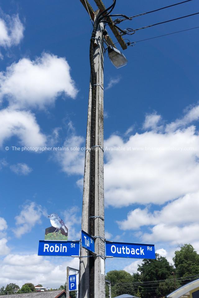 Taihape Bobin Street street sign featuring image of native bird
