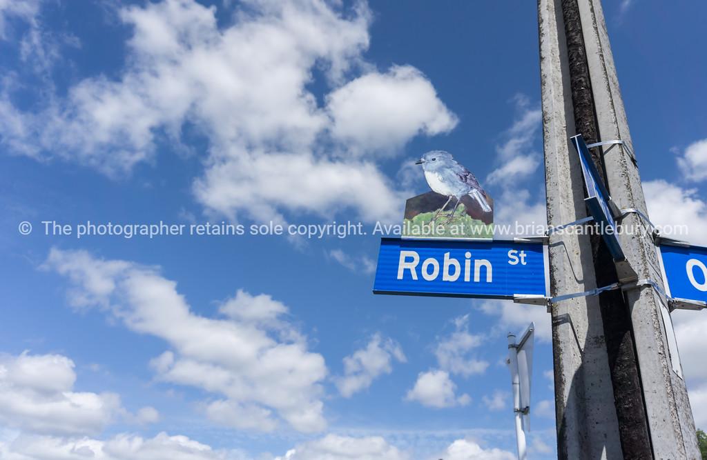 Taihape street sign featuring native bird