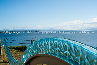 """Swell"", the glass scuplture on the edge of Lake Taupo."