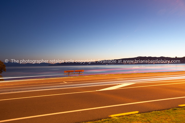 Lake Taupo, evening light as the sky changes and the sun sets.