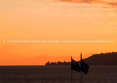 Colours of sun setting over Lake Taupo.