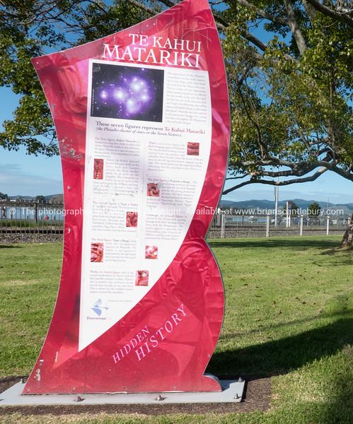 Interpretation boards telling the story of pou whenua on The Strand Tauranga.