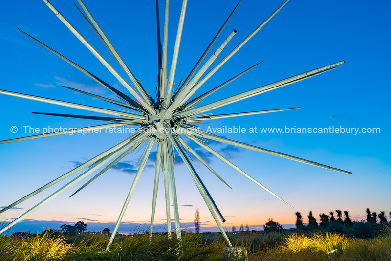Spinifex titled public artwork at entrance intersection of Eastern Arterial Route