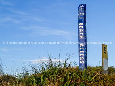 Beach access sign, typical of the access signs at Mount Maunganui, Papamoa.