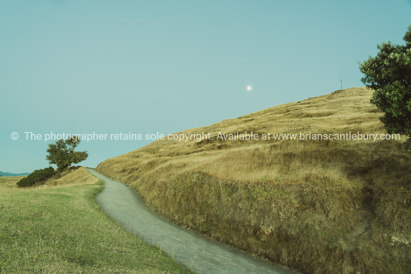 Path up Mount Maunganui and moon.