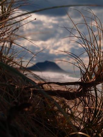 Mount Maunganui in distance along Papamoa Beach
