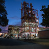 Industrial manufacturing plant illuminated