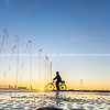 Water feature with spraying water on Tauranga Strand waterfront, New Zealand