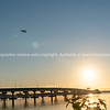 Sweeping lines of Tauranga Harbour Bridge over calm blue water with glow of rising sun at far end as passenger plane take-off and passes over.