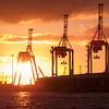 Industrial silhouette of wharf container cranes backlit by rising sun