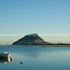 Classic style clinker dinghy and Mount Maunganui