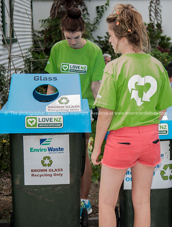 Recycling bins and collectors.