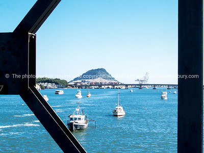 Tauranga Harbour and bridge from the Rail Bridge.