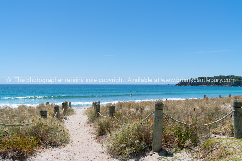 Bollards and ropes line sand track through dunes to Main Beach Mount Maunganui