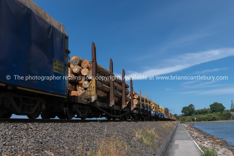 Lumber loaded wagons on train pass along railway to the port
