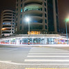 Apartments and cafes Marine Parade corner at base of mount street illuminated by street lights