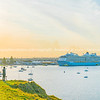 Ovation of the Seas cruiseship leaving Tauranga Harbour after being delayed due to White Island volcanic event affecting some passengers.