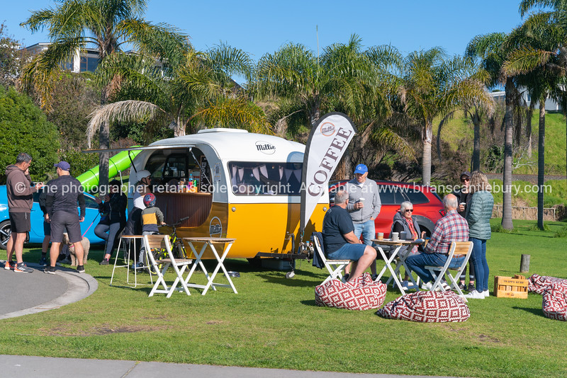 Coffee caravan sells coffees to patrons who have stops their walk or cycle for a break.