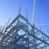 Structural steel framework for new building.